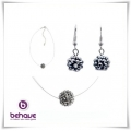 Behave - Spang & Oorhangers Set met Swarovski Elements - Hematite Ball